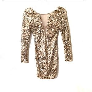 💙 Dainty hooligan Sequin Gold Formal Dress